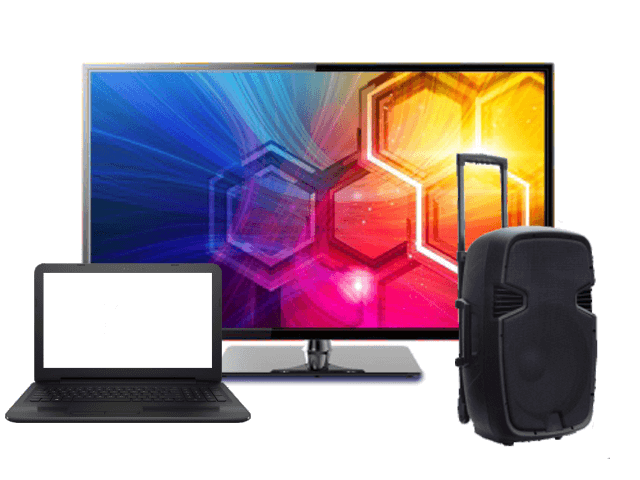 Televisor, computadora y speaker